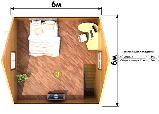 Изображение Дом каркасный 6х6м