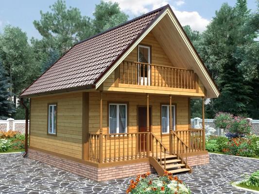Изображение Дом каркасный 6х7м с террасой и балконом