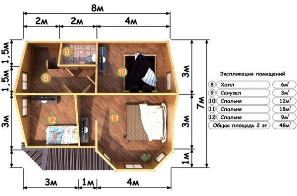 Изображение Дом из бруса 7х8м с эркером и террасой