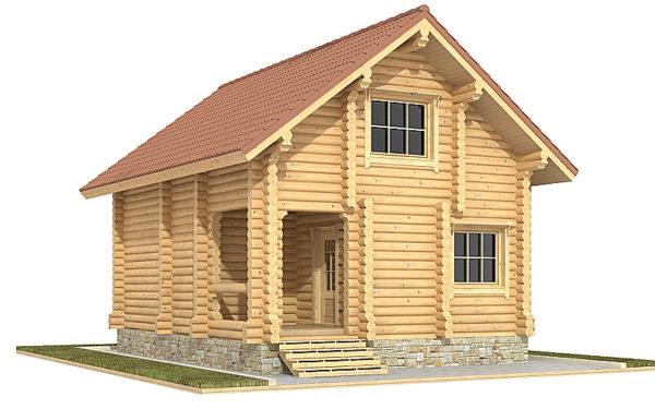 Изображение Дом из оцилиндрованного бревна 8,2х6,2м