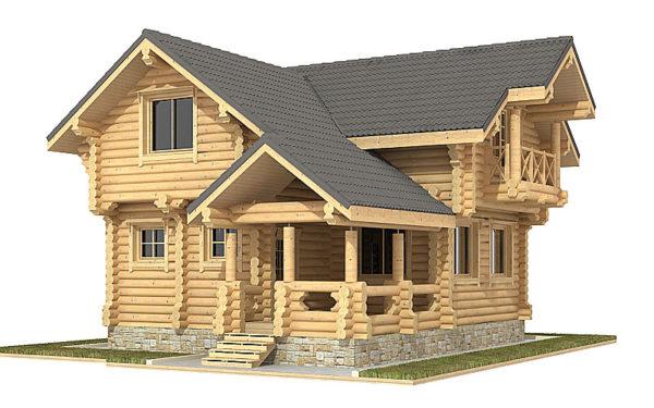 Изображение Дом из оцилиндрованного бревна 8,7х8,8м