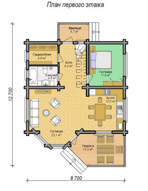 Изображение Дом из оцилиндрованного бревна 8,7х9,2м