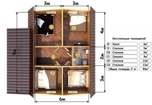 Изображение Дом из бруса 9х9,5м с верандой