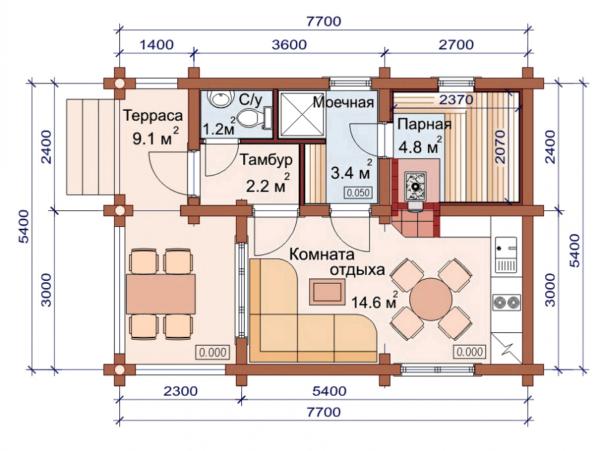Изображение Дом из оцилиндрованного бревна 7.7×5.4м