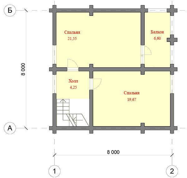 Дом из оцилиндрованного бревна 8x8м