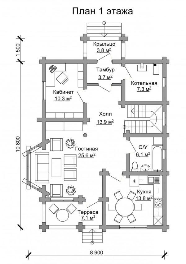 Изображение Дом из оцилиндрованного бревна 10,8х8,9м