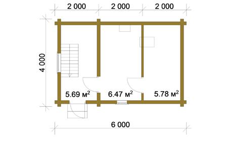 Изображение Баня из профилированного бруса 4х6 с мансардой