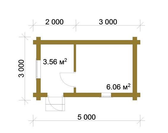 Изображение Баня из оцилиндрованного бревна 3х5 м с террасой