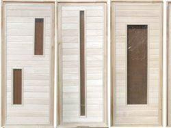 Дверьдеревяннаябанная из липы остекленная, см 70х180
