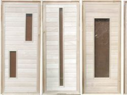Дверьдеревяннаябанная из липы, см 80х170