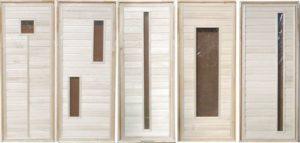 Дверьдеревяннаябанная из липы остекленная, см 70х170