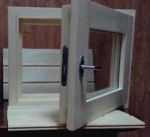 Окно деревянное террасное с одинарным остеклением, летнее, размер: 0,4*0,5