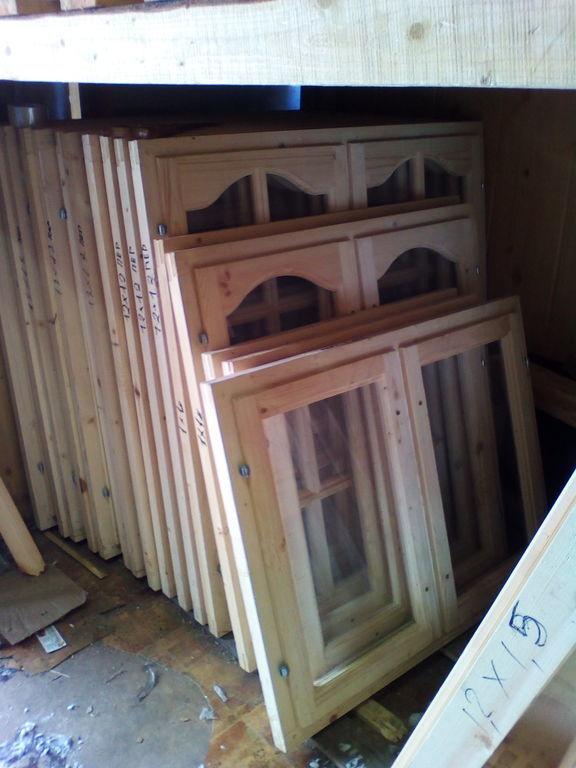 Окно деревянное террасное с одинарным остеклением с переплетом Арка 120*120