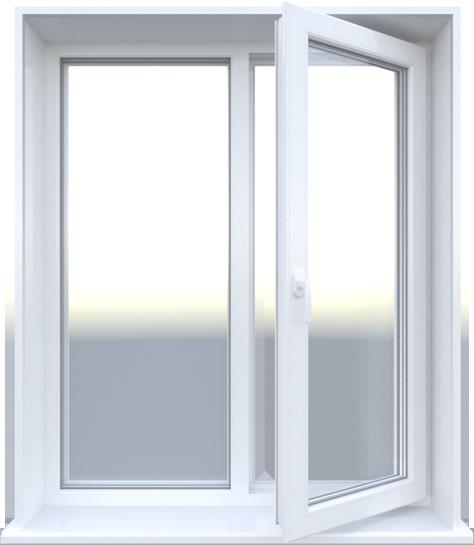 Двустворчатое пластиковое окно 1300х1200 мм