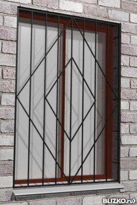Металлические решетки на окна простые 800х1000